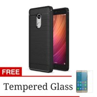 (1+1) iPaky Carbon Fiber Shockproof Hybrid Case for Xiaomi Redmi Note 4X + Gratis Tempered Glass