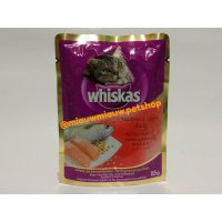 Makanan Kucing/Cat Food Whiskas Pouch Mackerel & Salmon 85gr