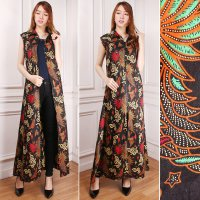 SB Collection Gamis Maxi Dress Mega Cardigan Longdress Terusan Outer Blazer Batik Wanita