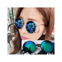 HO2455G - Kacamata Fashion Bulat Retro ( Blue Glaze Glass & Gold Frame )