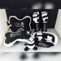 Set Bantal Mobil 4 in 1 Little PANDA Hitam List Putih