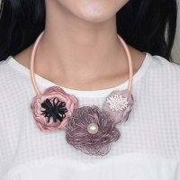 KALUNG 028FDDr Necklace Suede Clothing Accessories Pink-Dusty