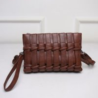 Termurah! TAS WANITA IMPORT C91405 BROWN CLUCTH ANYAM FASHION KOREA PESTA CASUAL