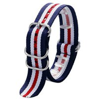 [worldbuyer] YISUYA 22mm Nylon Striped Blue /White/Red American Flag Color Replacement Wat/961675