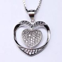 Kalung Luxury White Gold Plated 142 Free Rantai & Box & Pouch Cantik