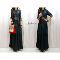 Gamis Muslim Jeans Wash Basic Maxy / Dress Jeans Wash Lucu Murah