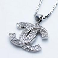 Kalung Luxury White Gold Plated 106 Free Rantai & Box & Pouch Cantik