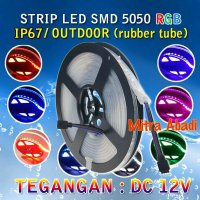 Lampu LED Strip SMD 5050 RGB DC 12V IP67/IP68 + Rubber Tube WATERPROOF