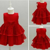 Midi Dress Anak Brokat Merah