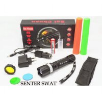 Senter Swat Police Zoom with Compass +Reflektor+Car Charger