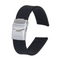 Black Silicone Rubber Waterproof Watch Strap Band Deployment Buckle