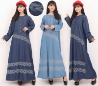 SB Collection Dress Maxi Rini Gamis Panjang Longdress Payung Jumbo Jeans Wanita