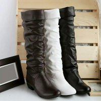 flat synthetic leather boot