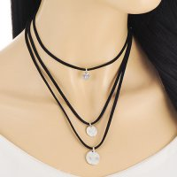 Kalung Choker Triple Layer Silver Coin KN67722