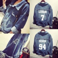 [globalbuy] Exo kpop shirt clothes hole denim jacket coat woman bts k-pop baseball uniform/3955146