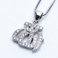 Kalung Luxury White Gold Plated 104 Free Rantai & Box & Pouch Cantik