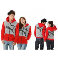 Jaket Puma Batik Red Grey - Mantel / Busana / Fashion / Couple / Pasangan / Babyterry / Sporty