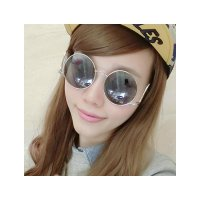 HO2455E - Kacamata Fashion Bulat Retro ( Silver Glass & Silver Frame )