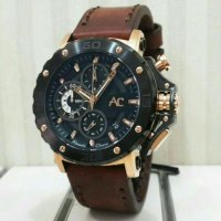 Jam Tangan Alexandre Christie Ac-9205 Black Rosegold Brown Original