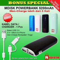 MDISK Powerbank 5200mAh+BONUS Kabel USB 3.0 High Speed 2 in 1