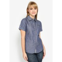 Mobile Power Ladies Basic Shirt Denim - Blue Grey H8365