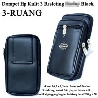 Dompet Kulit Hp 3 resleting HRL KW black
