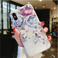 Soft Case Casing HP IPhone 5 5s SE 6 6s 7 7s 8 Plus Flower Vintage Transparant Bunga Blue Peony Corak Gambar Hias Pattern Picture Paint Design Timbul