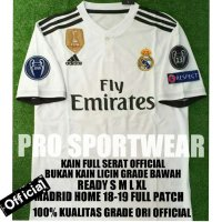 NEW JERSEY BOLA REAL MADRID HOME 2018-2019 FULL PATCH GRADE ORI Murah