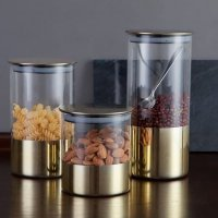 UCHII Exclusive Glass Canister Rose Gold Design set 3pcs Toples Kaca