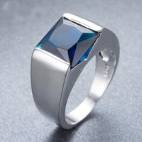 Cincin Pria Stainless Steel Square 4ct Blue Green White Sapphire