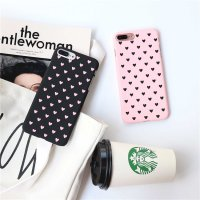Hard Case Casing HP IPhone 5 5s SE 6 6s 7 7s 8 Plus Black Pink Heart Polkadot Hearts Pattern Cheap Murah Lucu Unik Bergambar Bercorak Korean Korea