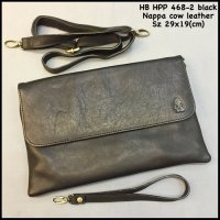 Dompet Hush Puppies 468-2 Black Suprem Clutch Kulit Handbag Import