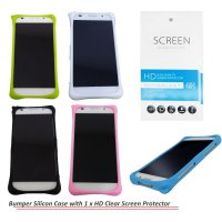 Kasing Silikon Bumper Case Cover + Gratis 1 Screen Protector untuk Alcatel One Touch Flash