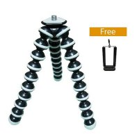 Universal Gorilla Pod Tripod Tongsis Flexible Tripod + Free Holder U for Smartphone - Hitam Putih