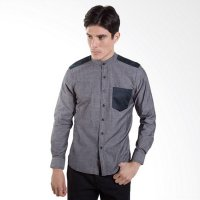Britania Chambray Henley Collar Combination Grey Baju Koko [Lebaran