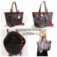 TAS FOSSIL PRINT TOTE SET POUCH