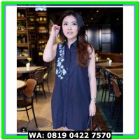 (Murah) peony embroidery shirt dress navy blue premium cotton