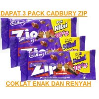 Dapat 3 pack Cadbury Zip Chocolate wafer bar Zip wafer coklat bersalut perisa coklat valentine