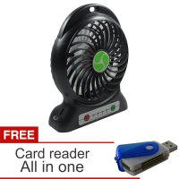Lanjarjaya USB Mini Fan / Kipas Angin Rechargeable Baterai 18650 Li-ion + Card Reader All In One(Hitam)
