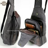 Tas Selempang Body Bag Denim Kanvas - Hitam