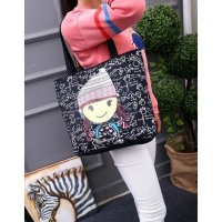 Beli 1 Gratis 1 TC20 Black Canvas Tote Bag / Tas Selempang
