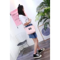 Beli 1 Gratis 1 S04 Solid Color simple portable canvas shoulder bag / Tas Selempang