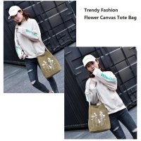 Trendy Fashion Flower Canvas Tote Bag / Tas Tote Trendy