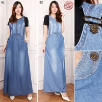 SB Collection Dress Maxi Blithe Gamis Jeans Longdress Terusan Wanita