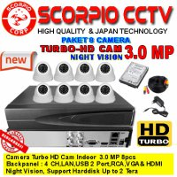 CCTV 8 Kamera 3.0 MP TURBO-HD + HARDISK SIAP PAKAI