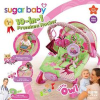 Bouncer Sugar Baby 10in1 Premium Rocker Little Owl Pink kursi bayi
