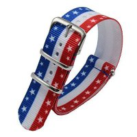 [worldbuyer] Carty Watch Bands - 22 mm American Flag Red White Blue Ballistic Nylon and St/977431
