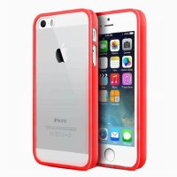 iBuy IPhone 5 5s 5 Se Bumper Red Case Merah Rubber Case With Clear Bac