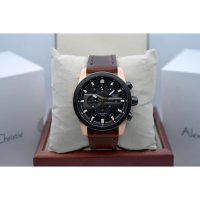 Jam Tangan Alexandre Christie AC 6270 Rosegold Black Leather Brown