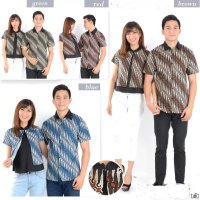 Batik Kerucut Kombinasi Merah - Kemeja Couple / Batik Couple / Pasangan / Supplier / Couple